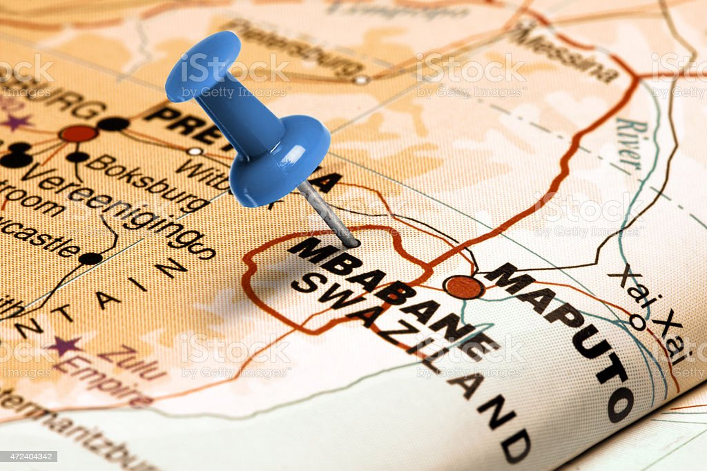 Location Mbabane. Blue pin on the map. stock photo