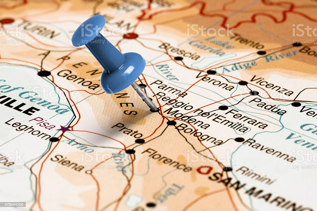 Location Modena. Blue pin on the map. stock photo