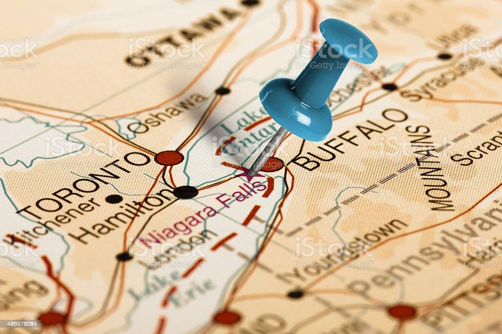 Location Niagara Falls Blue Pin On The Map Stock Photo More