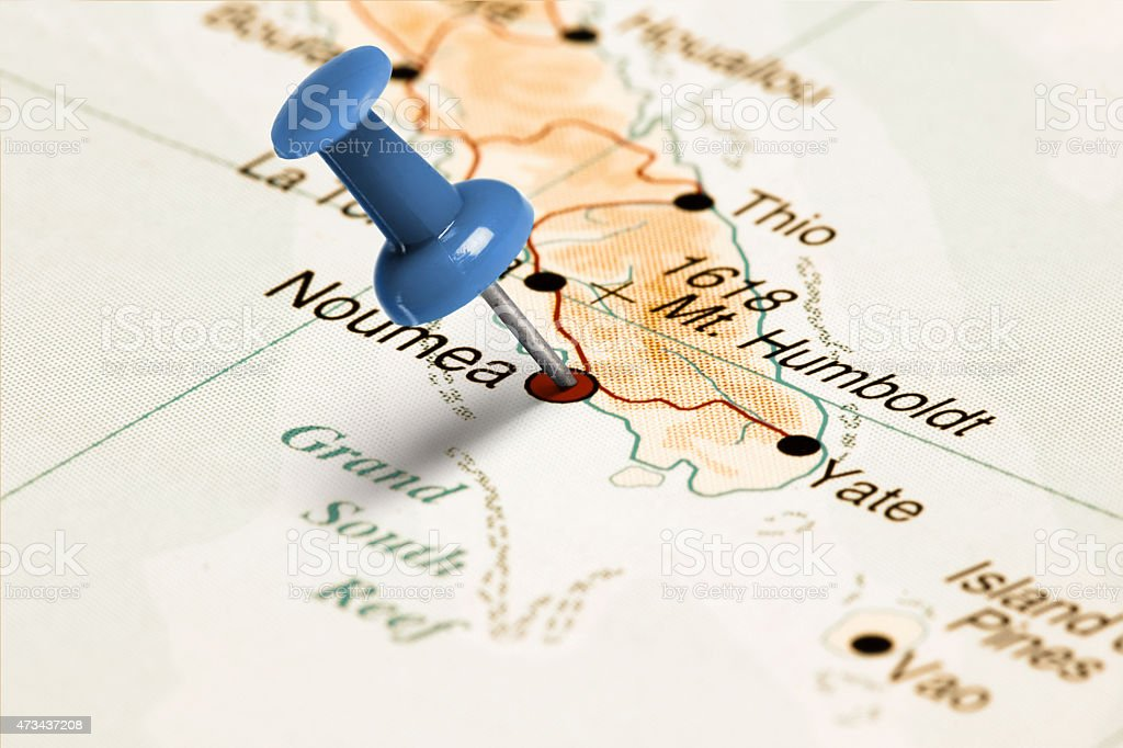 Location Noumea Blue Pin On The Map Stock Photo More Pictures of