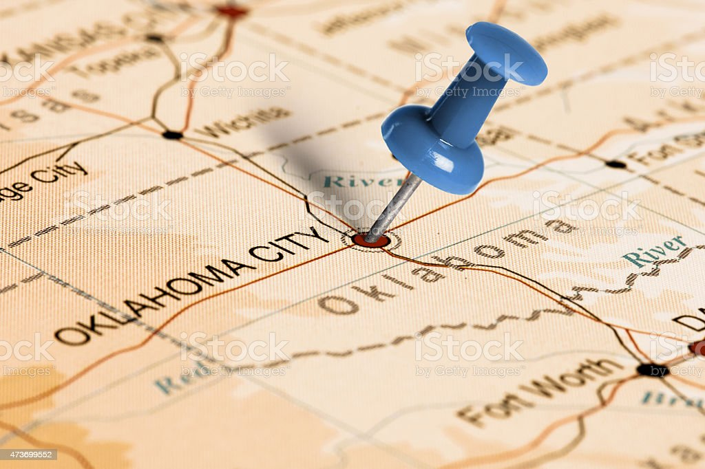 Location oklahoma city blue pin on the map stock photo more location oklahoma city blue pin on the map royalty free stock photo gumiabroncs Image collections