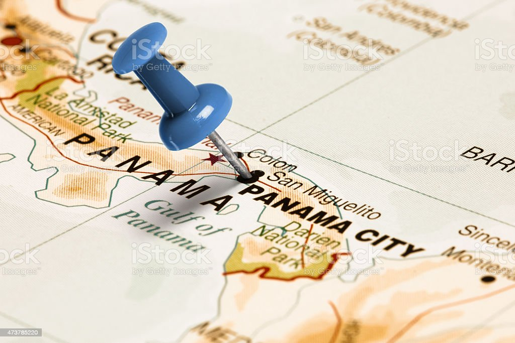Image of: Location Panama City Blue Pin On The Map Stock Photo Download Image Now Istock