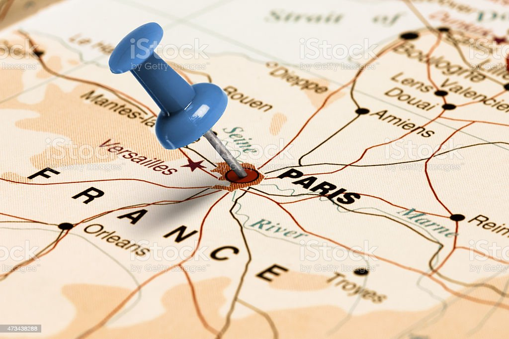 Location Paris Blue Pin On The Map Stock Photo - Download ...
