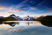 Great view of the snow rocky massif. Popular tourist attraction. Dramatic and picturesque scene. Location place Bachalpsee in Swiss alps, Grindelwald valley, Bernese Oberland, Europe. Beauty world.