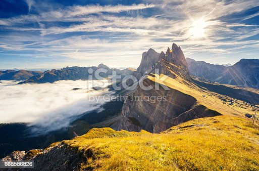 istock Location place Dolomite mountains, South Tyrol, Italy, Europe. Explore the world's beauty. 668586826