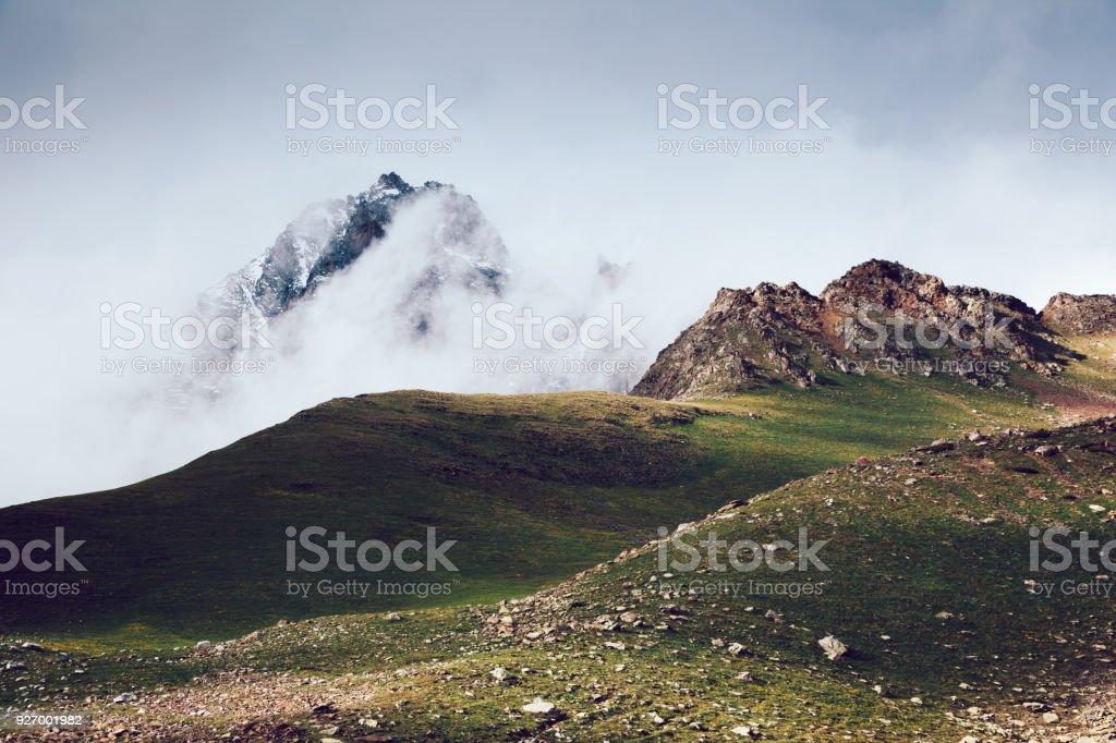 Location place Svaneti, Mestia, Georgia, Europe. High Caucasus ridge. stock photo
