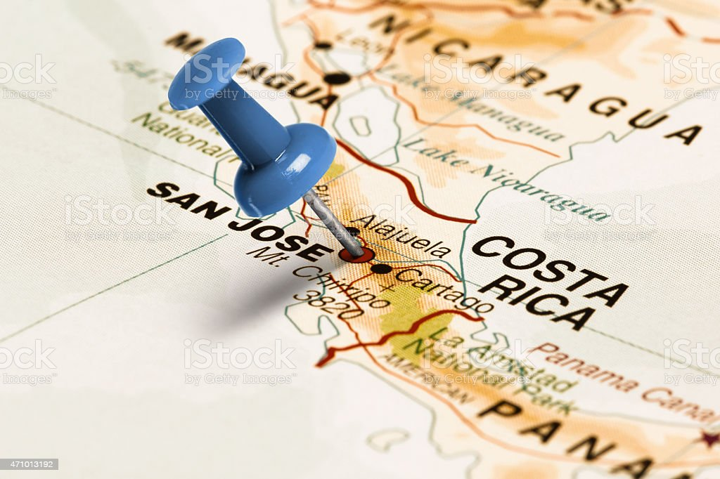 Location San Jose Blue Pin On The Map Stock Photo & More Pictures of ...