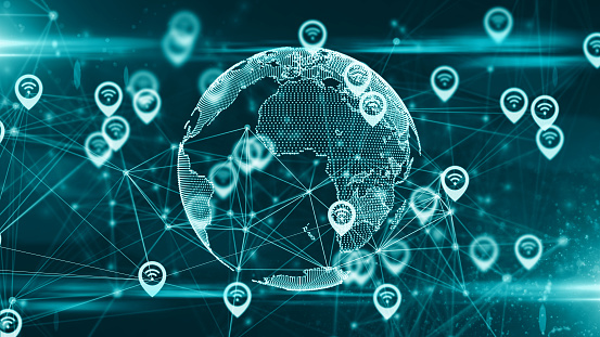 Location Services And Gps Iot Cloud Computing Data Sharing Global Network  Stock Photo - Download Image Now - iStock