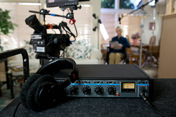Location sound cart with mixer and video camera stock photo