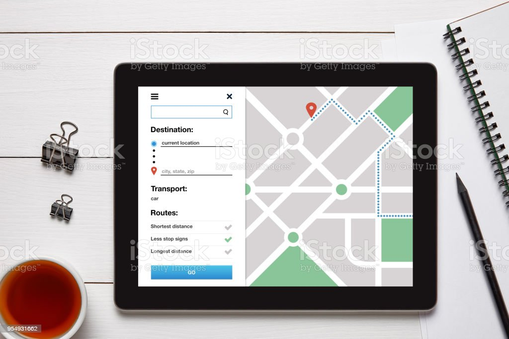 Location tracker concept on tablet screen. GPS map navigation app stock photo