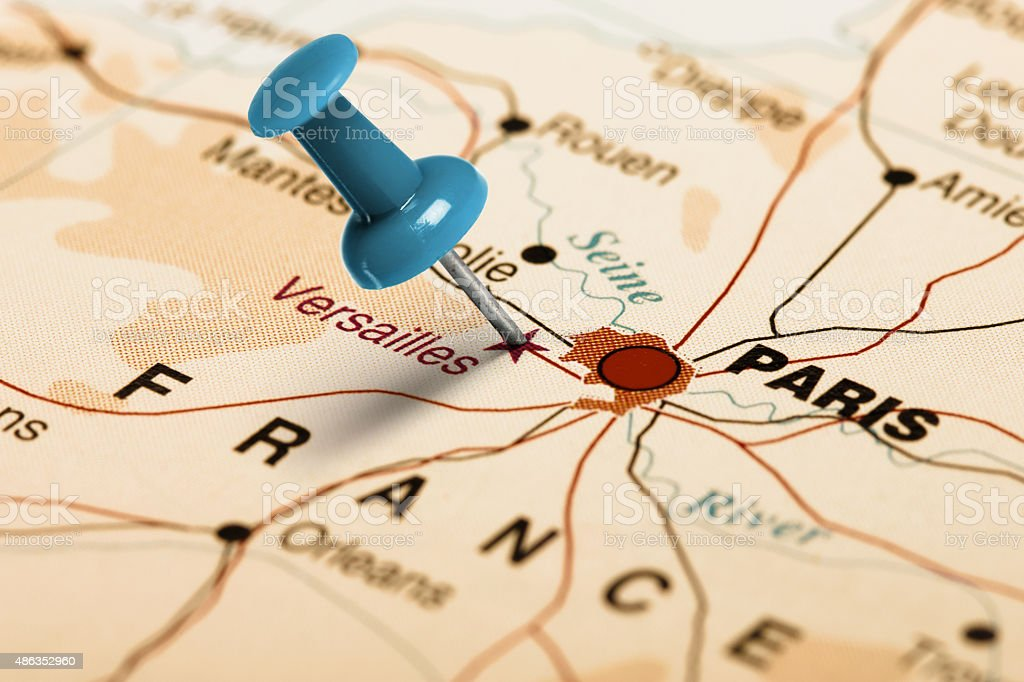Location Versailles. Blue pin on the map. stock photo