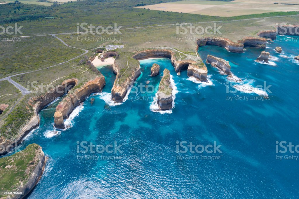 Loch Ard Gorge, Razorback and Island Arch, Great Ocean Road, Twelve Apostels, Australia stock photo