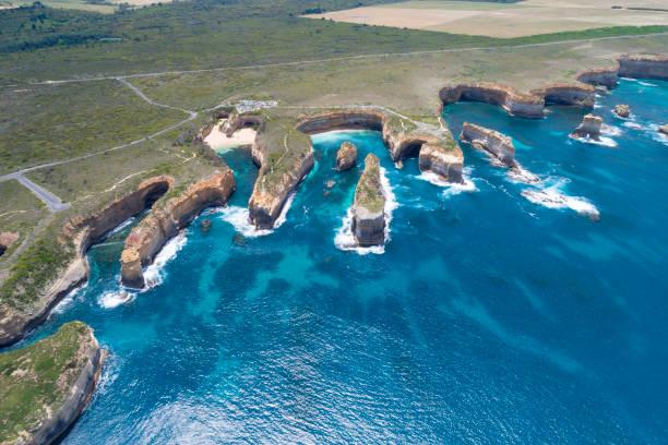 Loch Ard Gorge, Razorback and Island Arch, Great Ocean Road, Twelve Apostels, Australia stock photo