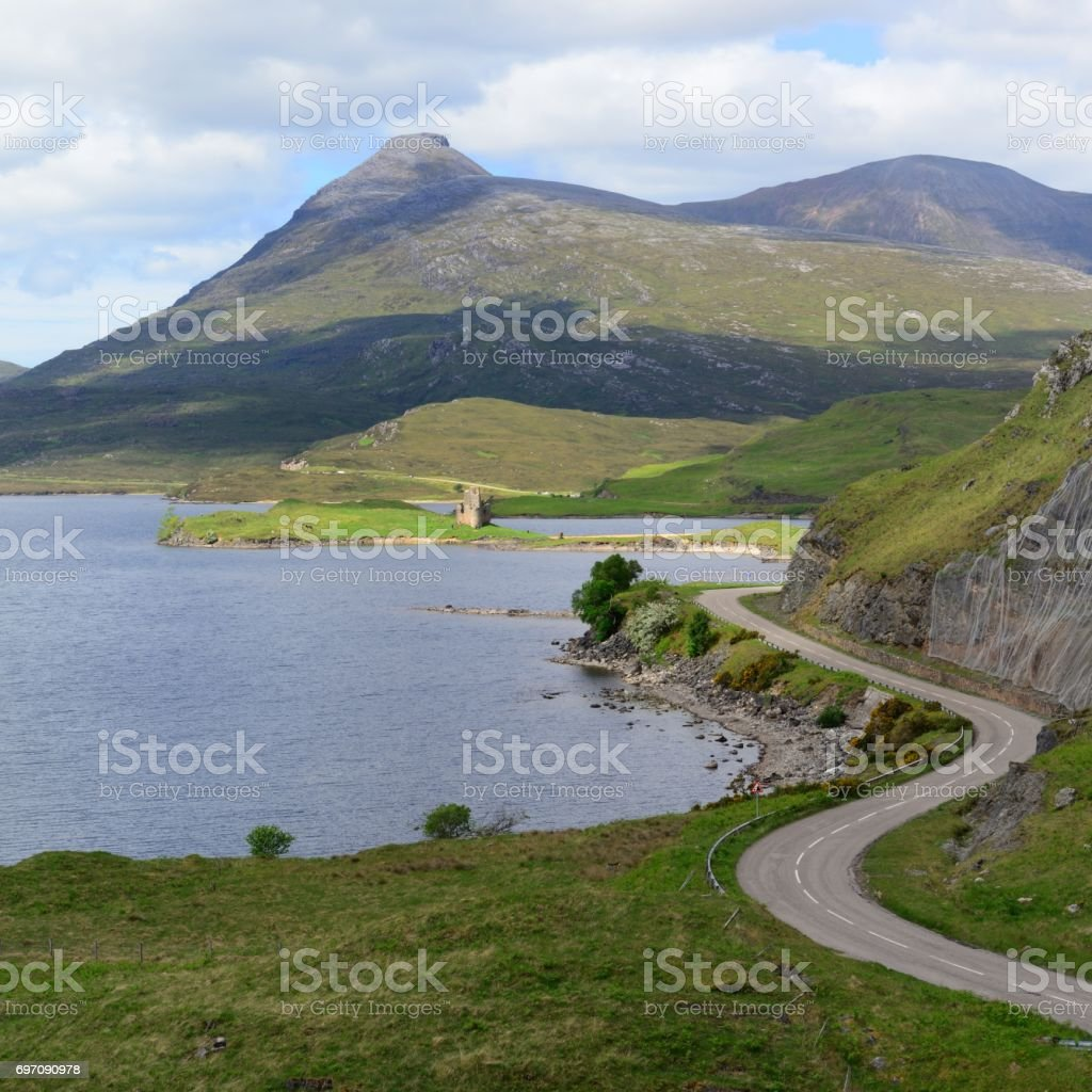 Loch Assynt and Quinag stock photo