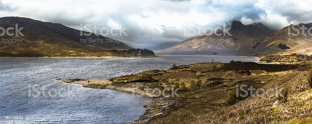 Loch Cluanie and Scottish Highlands Panorama stock photo