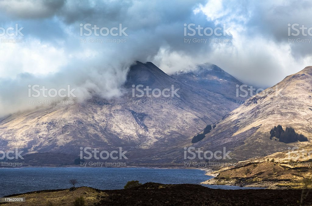 Loch Cluanie and Scottish Highlands stock photo