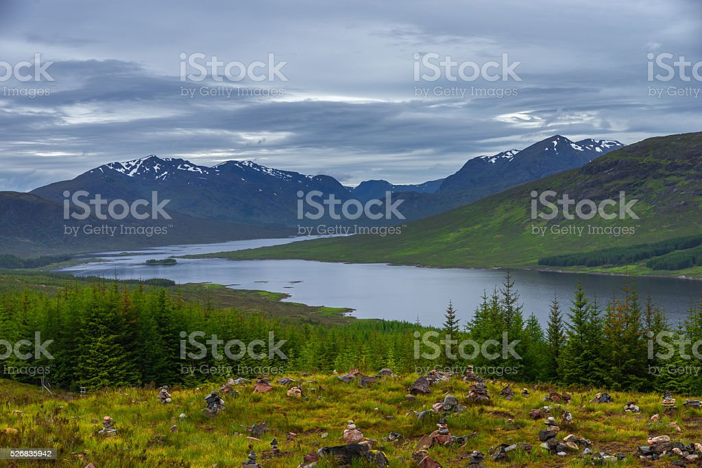 Loch Cluanie, Scotland lake and mountain landscape stock photo