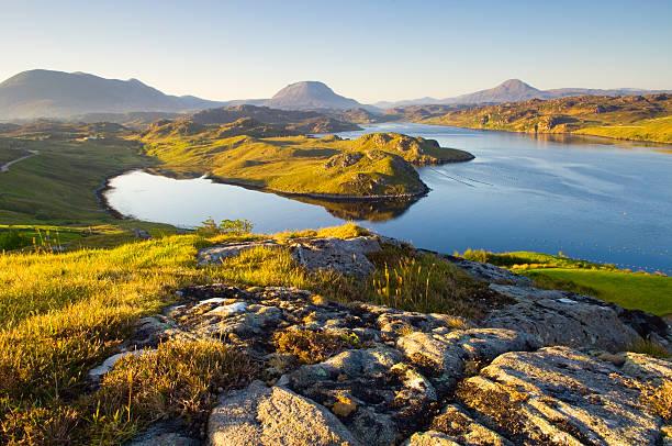 Loch Inchard in early morning light stock photo