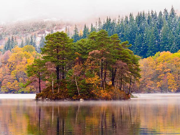 Loch Katrine winter scene. stock photo