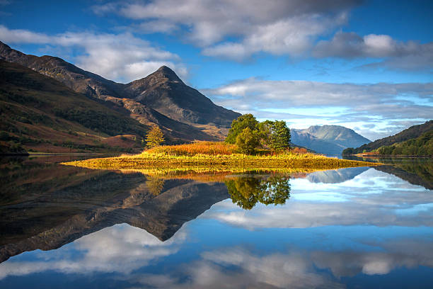 Loch Leven Reflections Amazingly still reflections of the island in Loch Leven, Scotland, with the Pap of Glencoe in the middle distance. scottish highlands stock pictures, royalty-free photos & images