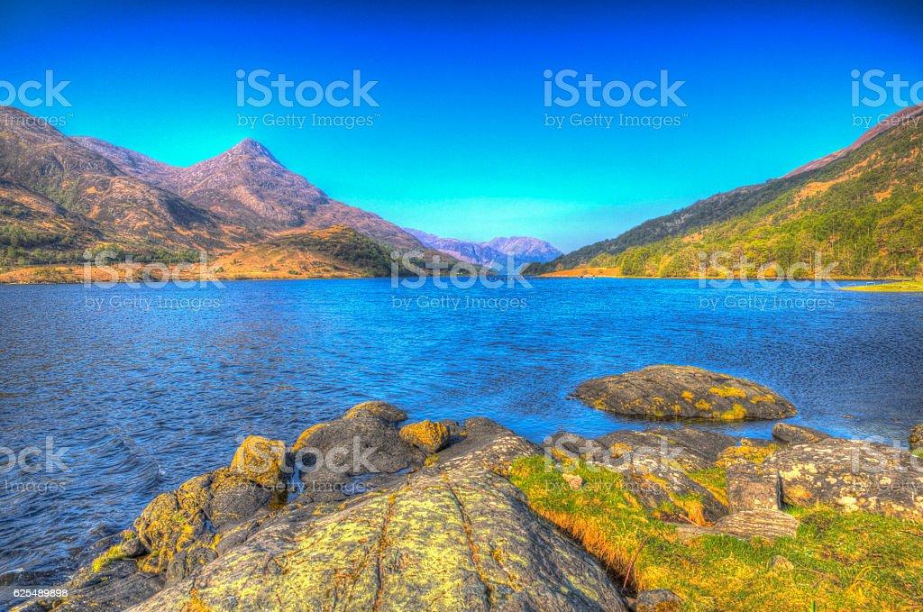 Loch Leven Scottish lake Scotland Scottish Highlands bright colourful HDR stock photo