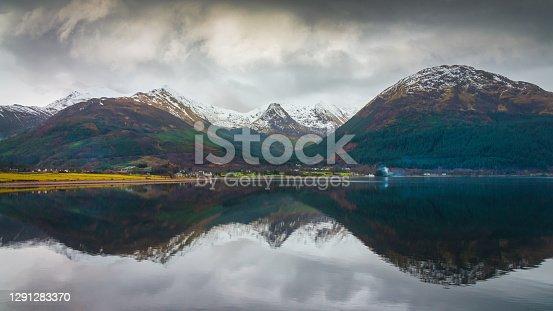 istock Loch Linnhe Mountain Lake Reflections Panorama in Winter Scotland UK 1291283370