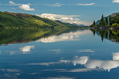 Loch Lochy as seen from the A82 motorway in western Scotland on a sunny day.
