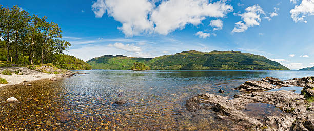 Loch Lomond picturesque mountain lake shore panorama Highlands Scotland stock photo
