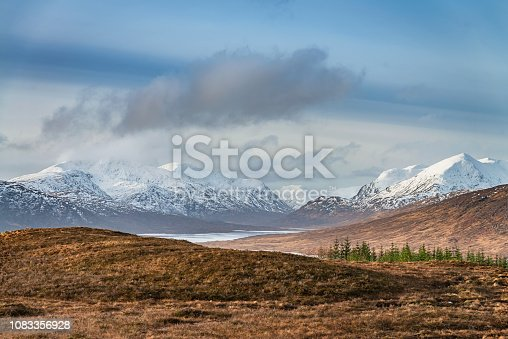 Majestic snowcapped Scotland Mountains in winter under beautiful blue sky. Loch Loyne in front of the Mountain Range. North West Scottish Highlands, Scotland, United Kingdom.