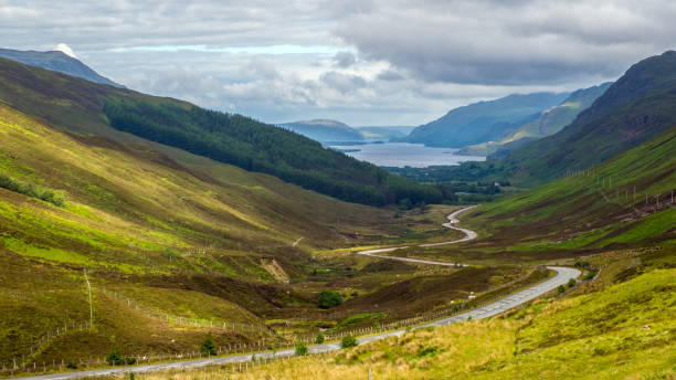 Loch Maree from Glen Docherty View of Loch Maree from Glen Doherty - part of the North Coast 500 scenic route around the north coast of Scotland. north coast 500 stock pictures, royalty-free photos & images