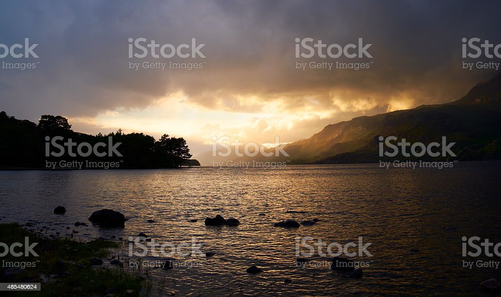 Loch Maree Sunset Scenic stock photo