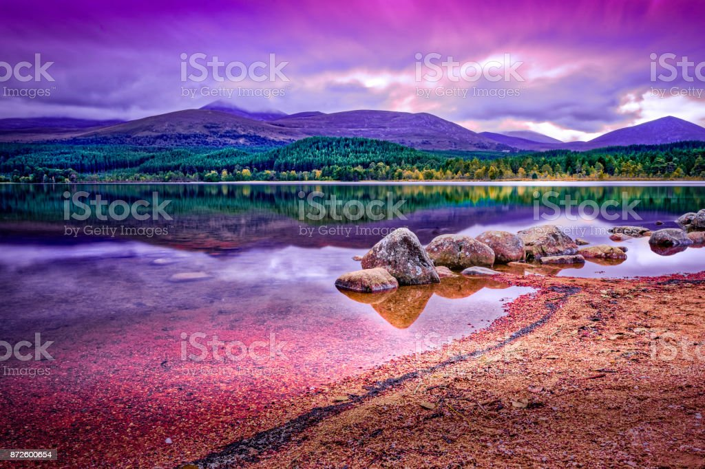 Loch Morlich, Aviemore on a cloudy day stock photo
