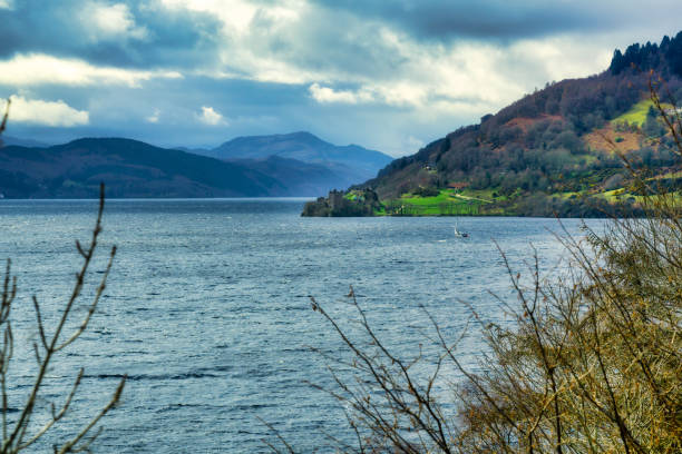 Loch Ness in Scottish Highlands near Drumnadrochit stock photo