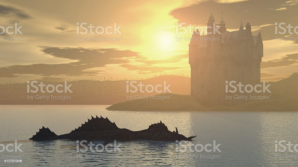Loch Ness Monster and Scottish Castle stock photo
