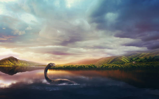 loch ness monster in the lake at sunset - monster stock pictures, royalty-free photos & images