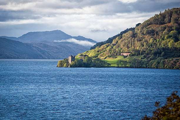 Loch Ness Urquhart Castle at Loch Ness Scotland Highlands on A82 inverness scotland stock pictures, royalty-free photos & images