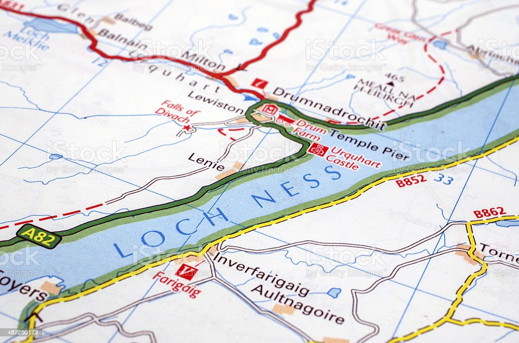 Loch Ness Karte.Loch Ness Road Map Stock Photo Download Image Now Istock