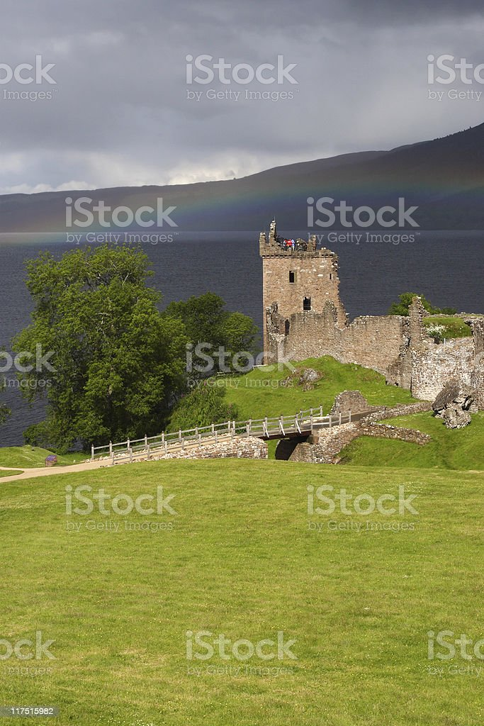 Loch Ness - Urquhart castle with rainbow stock photo