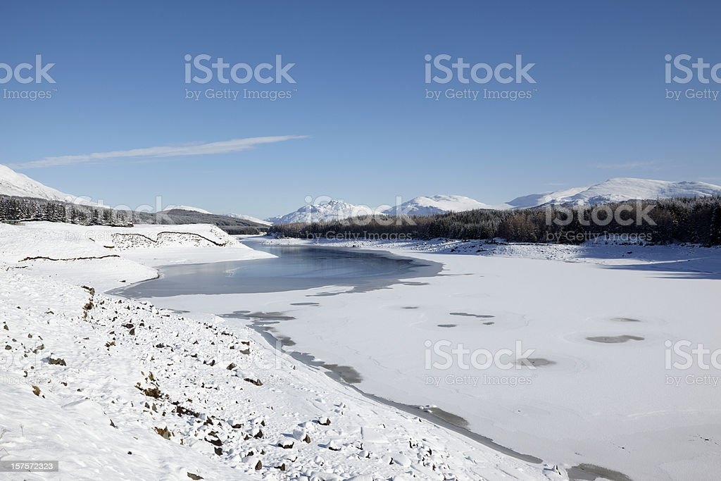 Loch Spean with Cairngorm mountains, ice and snow, Scotland stock photo