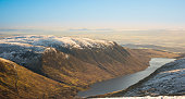 Loch Turret Reservoir Dam and Choinneachain Hill - view from Ben Chonzie