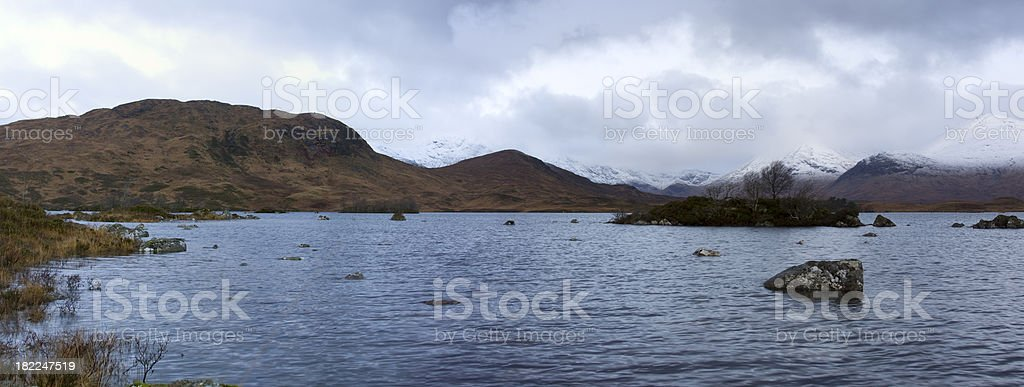 Lochan Na h'Achlaise at Dawn Panoroma. stock photo