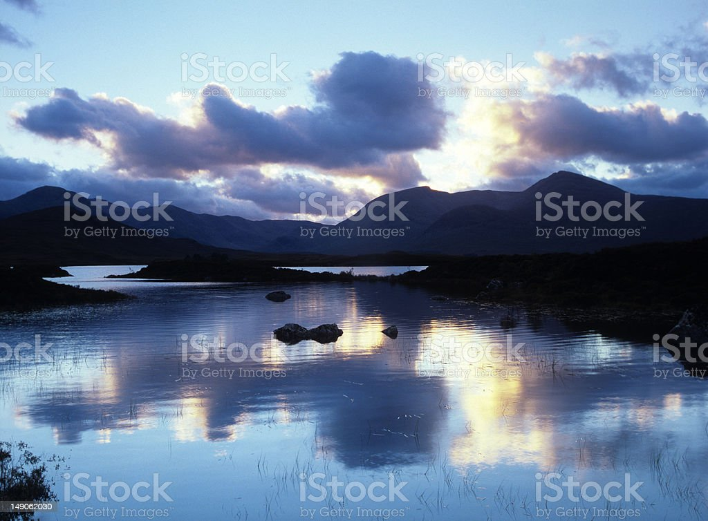 Lochan Na h'Achlaise at sunset stock photo