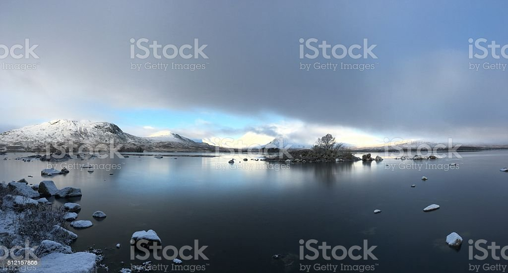 Lochan Na H-Achlaise towards Black Mount Panorama. stock photo