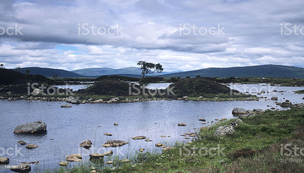 Lochan Na h'Achlaise under stormy sky stock photo