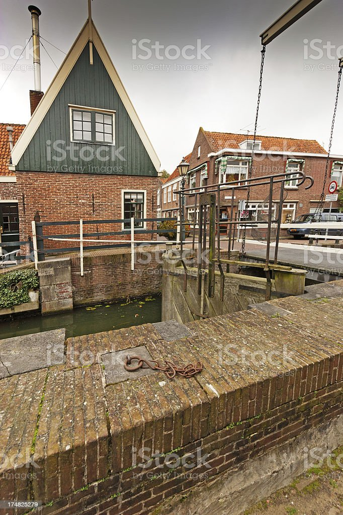 Lock and Buildings in Edam Netherlands. royalty-free stock photo