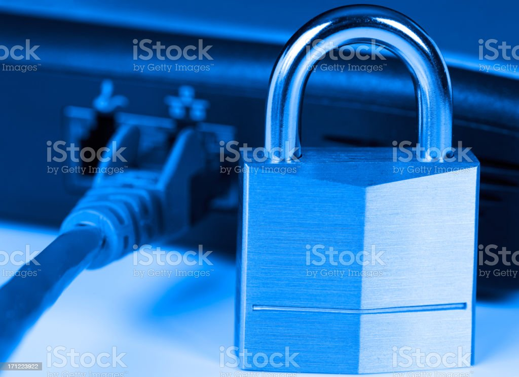 Lock and cord symbolizing data security royalty-free stock photo