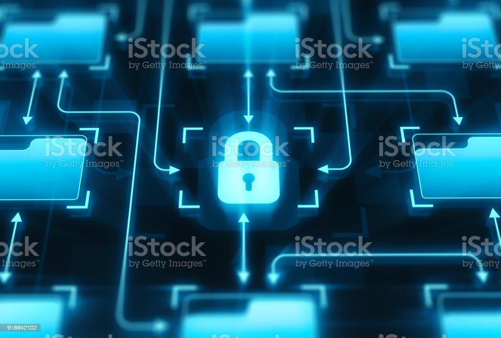 Lock and folders on digital display stock photo