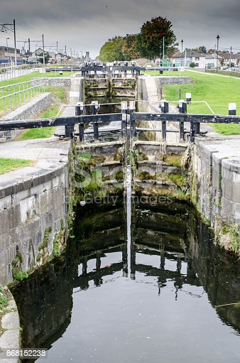 Lock and water canal passing through Dublin Ireland during a day of autumn