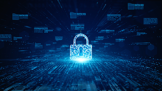 Lock Icon cyber security of digital data network protection. High speed connection data analysis. Technology data network conveying connectivity background concept.