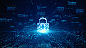 istock Lock Icon cyber security of digital data network protection. High speed connection data analysis. Technology data network conveying connectivity background concept. 1266559436